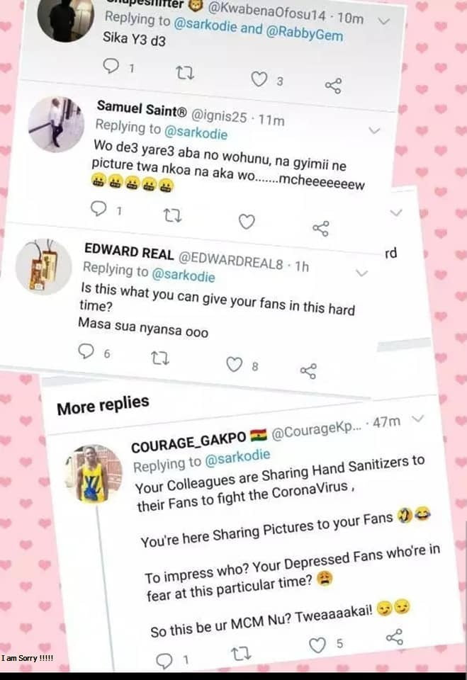 Sarknation fans Insult Sarkodie for sharing pictures and Not sanitizers (screenshots) 2