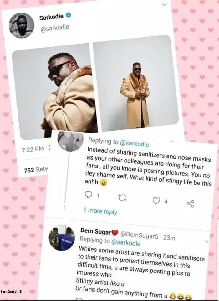 Sarknation fans Insult Sarkodie for sharing pictures and Not sanitizers (screenshots) 3