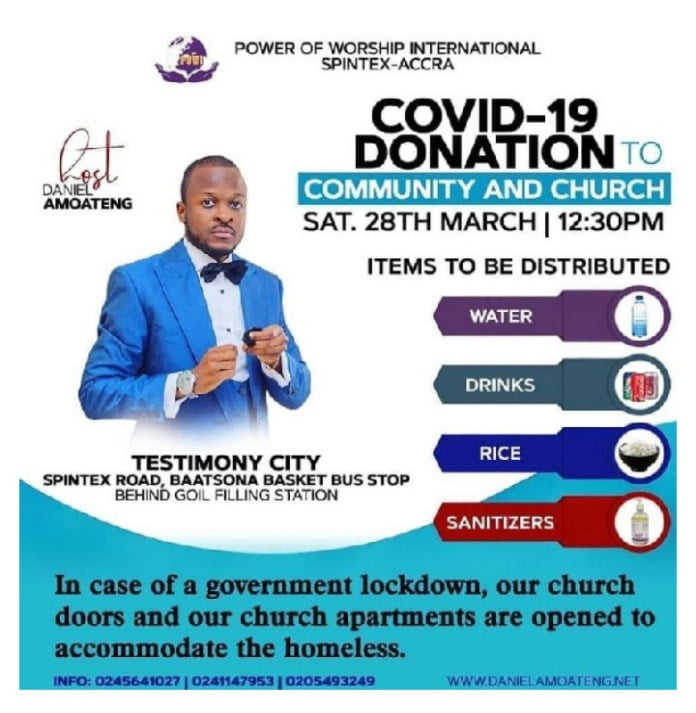 Pastor Brian to provide food water and rooms for the homeless during 14 days lock down of Accra. 2
