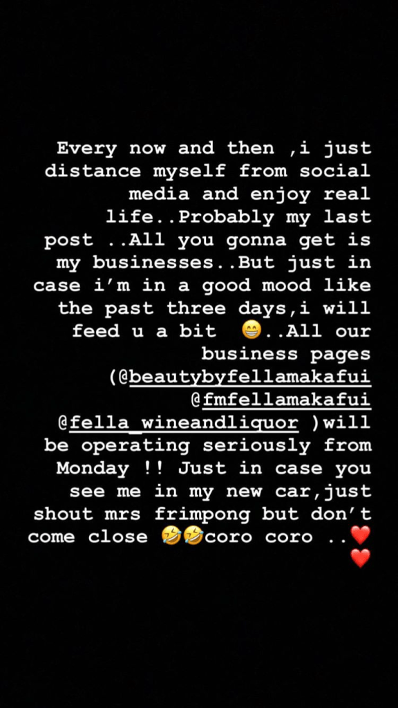 Fella Makafui to distance herself from social media (screenshot) 2