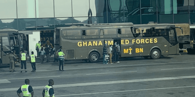 See Photos Of Passengers Who Arrived At Kotoka Last Night Being Picked Up By Armed Forces To Be Quarantined 1