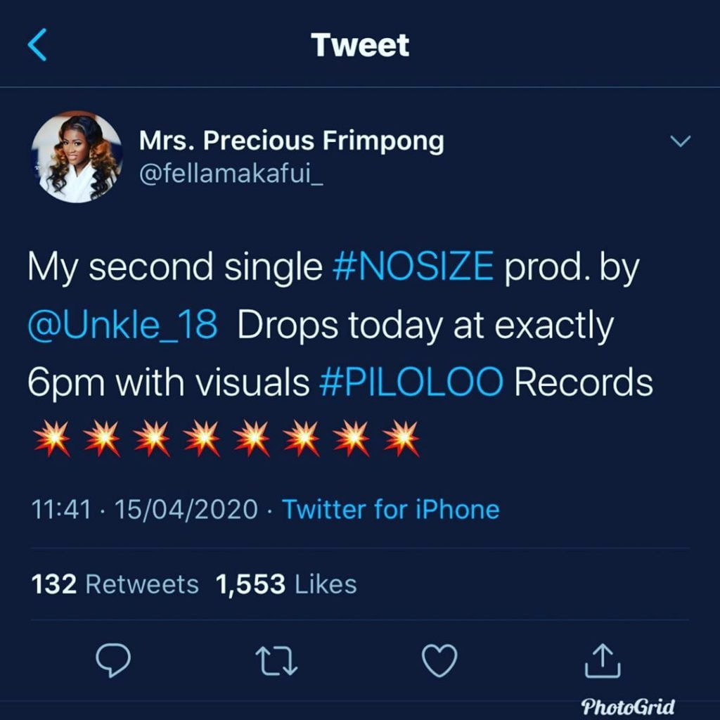"""Fella Makafui Set to Drop Another Song Titled """"No Size"""" After Her """"Over"""" Song Went Wrong - Screenshot 1"""