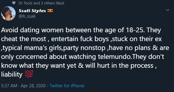 """""""Avoid dating ladies between the ages of 18 - 25, they cheat the most have no plans and only like watching Telenovela""""- Man advises. 2"""