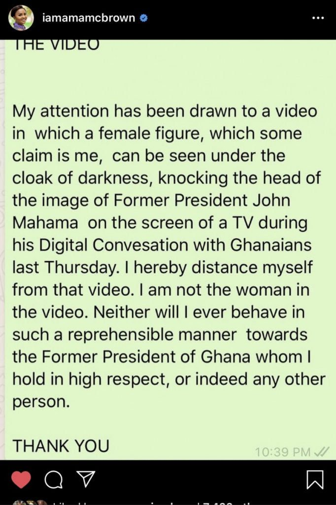 Nana Ama Mcbrown reacts to viral video of her Knocking former president Mahama on TV (video) 2