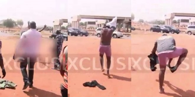 Taxi Driver Strips Naket After Nigeria Police Seized His Car For Defying Lockdown Order - Video 1