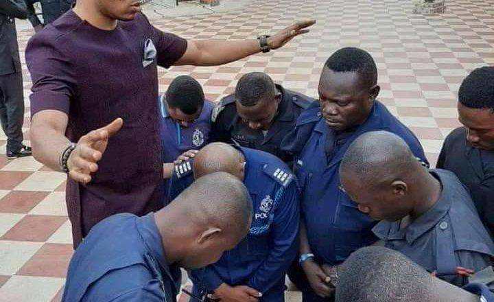 Picture of Angel Obinim praying for police officers surfaces online (photo) 2