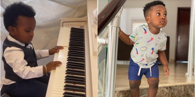 John Dumelo's son steal hearts of fans as he plays the piano (video) 1