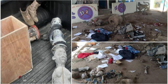 Police recover 4 dead bodies buried in a powerful shrine for rituals in Adeiso Ghana. 1