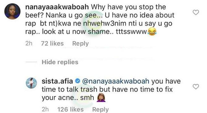 Sista Afia Insults a fan who told her she lost beef to Eno Barony. 2
