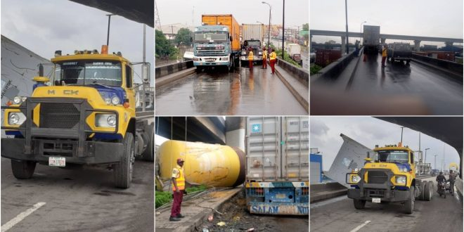 People Escape Death As A Gas Tank Falls Off A Bridge From It Moving Truck  - Photos 1
