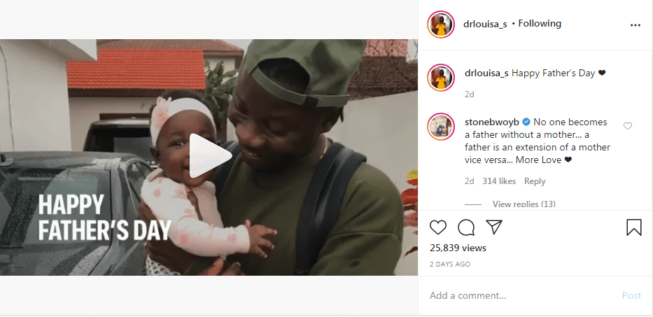 Dr. Louisa Shares rare Video Of Stonebwoy On Daddy Duties and Ghanaians Are Loving It. 2