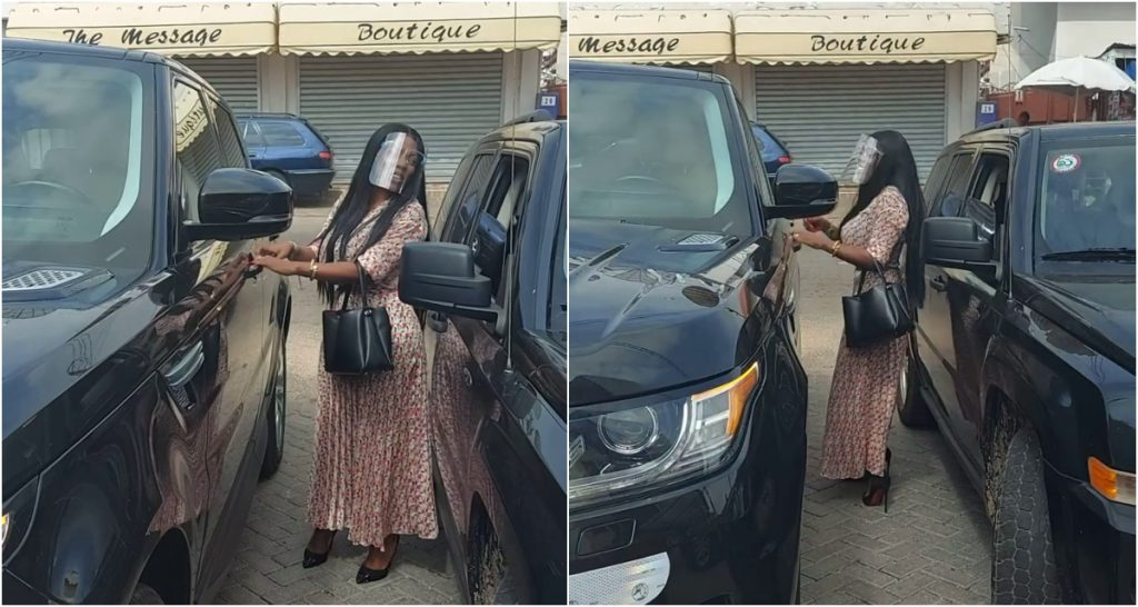 Video of Nana Aba Anamoah struggling to open the door of her Range Rover surfaces online (video) 2