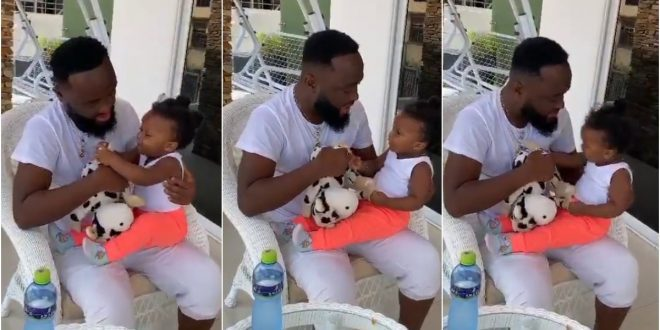A lovely moment: McBrown's Husband Maxwell is on Daddy Duties With His Daughter, Maxin 1