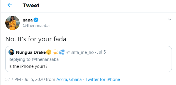 """It's For Your Father"" - Nana Aba Anamoah Angrily Insults A Fan Who Asked Of Her iPhone (Screenshots) 3"