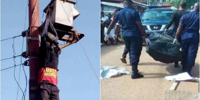 So Sad! 22-Year-Old Electrician Electrocuted On A High Tension Pole At Tema - Photos 1