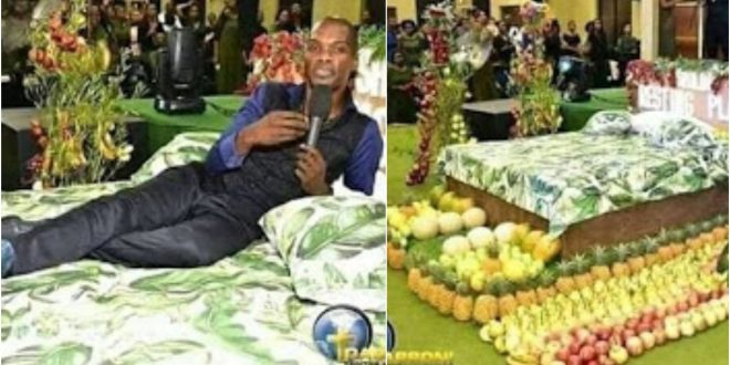 Photos Of Pastor Showing His Members What Heaven Looks Like With Bed And Flowers Hit Online 1