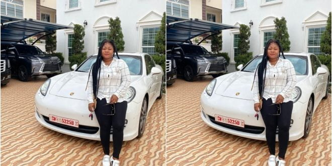 Reverend Obofour's Wife, Ciara Antwi Flaunts Her Newly Acquired Porsche Car In New Photos 1