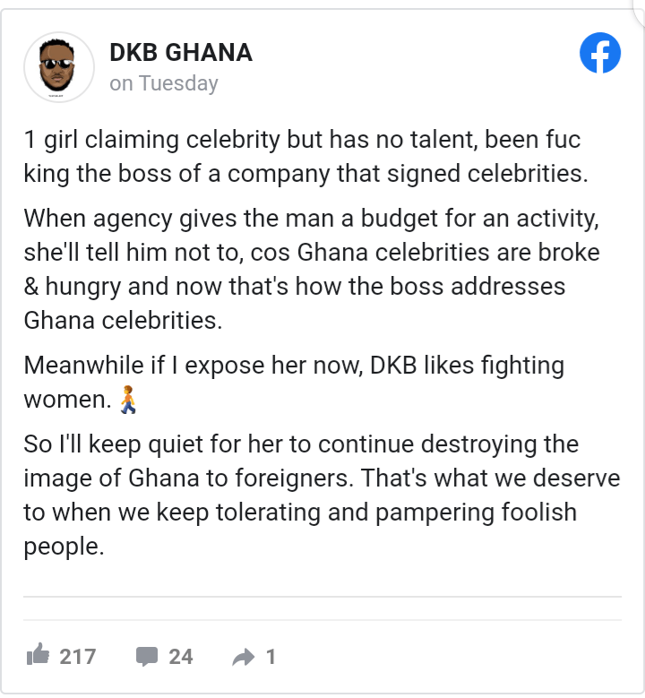 DKB exposes female celeb who warms a rich foreigner's bed and gossips about other celebs 2
