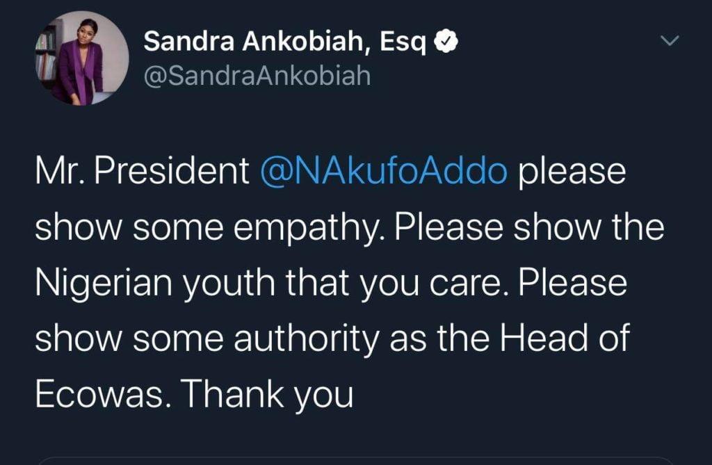 Nana Aba, Sandra Ankobiah & Berla Mundi calls on Nana Addo to intervene in EndSARS brutality 2