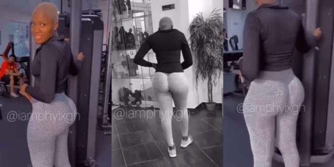 Fella Makafui causes confusion with her Huge Backside as she hits the Gym 1