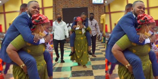 Church member carries Angel Obinim at her back in new photos 1
