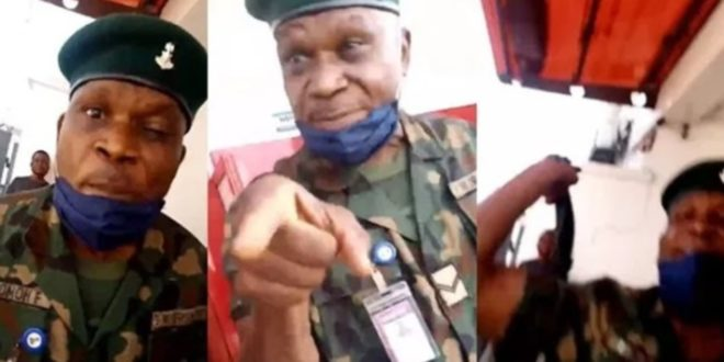 Army Officer arrested for beating a lady unlawfully at a bank 1