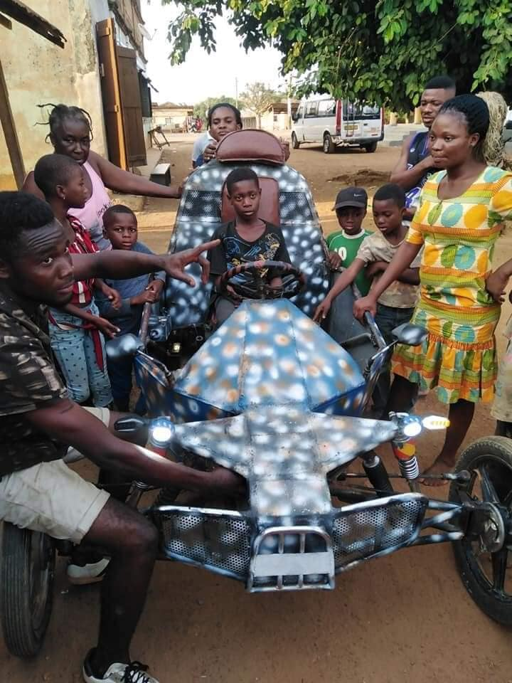 Teenage Boy in Oti Region Goes viral for inventing an Impressive Vehicle (photos). 4