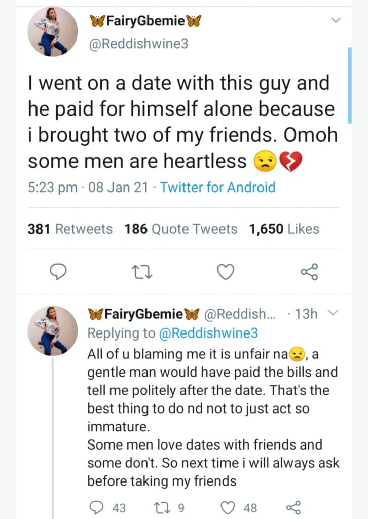 I went on a date with a guy and he paid for himself alone - Beautiful Lady cries out 3
