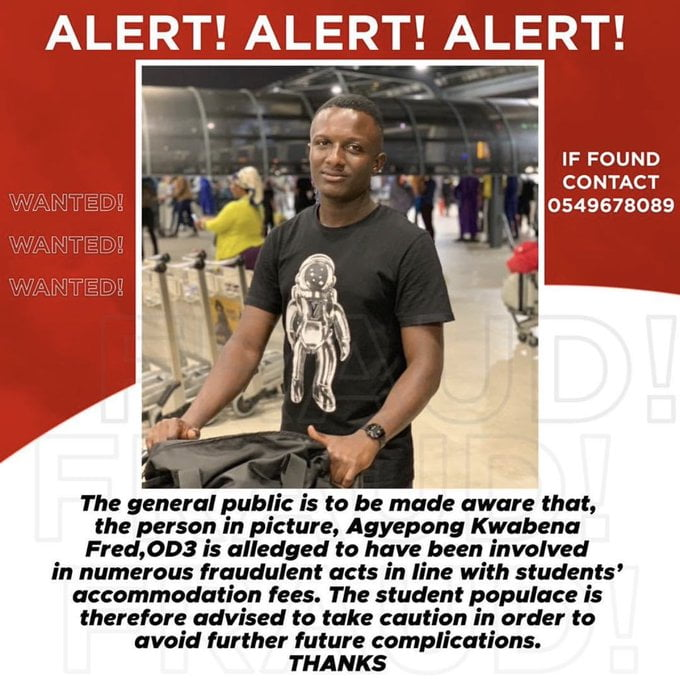 KNUST student wanted by police after running away with GHS100,000 hostel fees 3