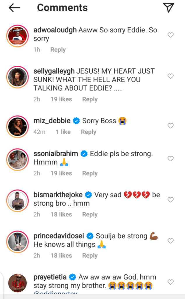 So Sad! Celebrities react to the death of Eddie Nartey's wife - screenshots