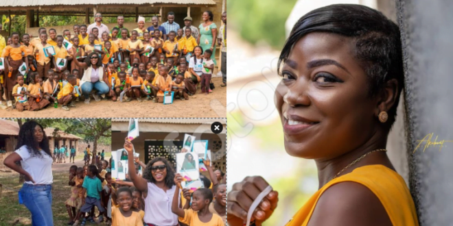Afia Pokua donates learning materials to children in Village as school re-opens - Photos 1