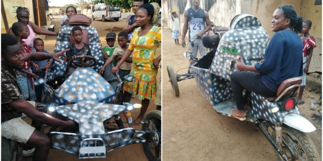 Teenage Boy in Oti Region Goes viral for inventing an Impressive Vehicle (photos). 1