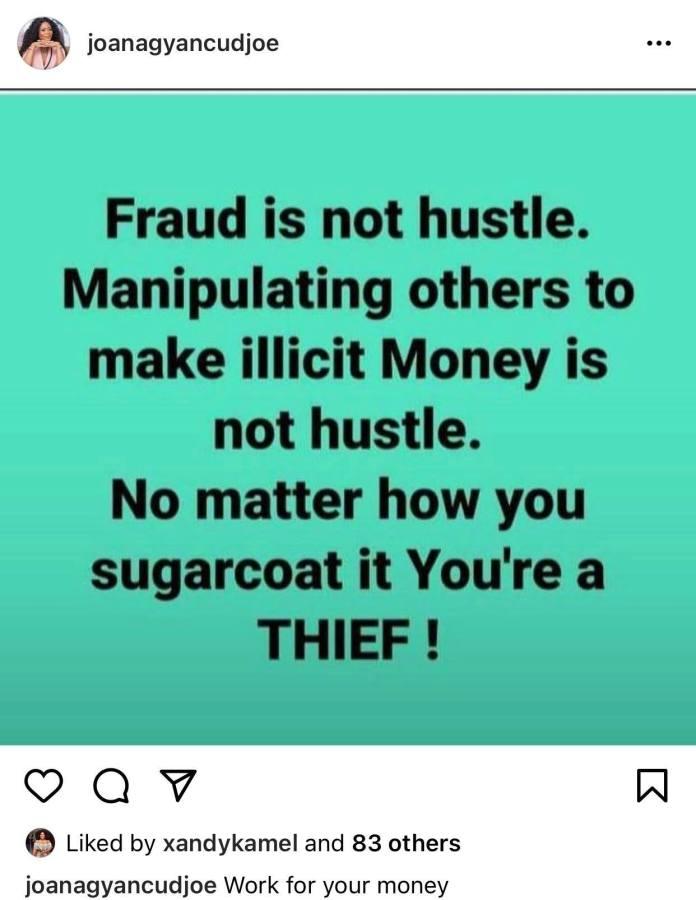 'Fraud is not hustling'- Keche's wife Joana Gyan advises 3