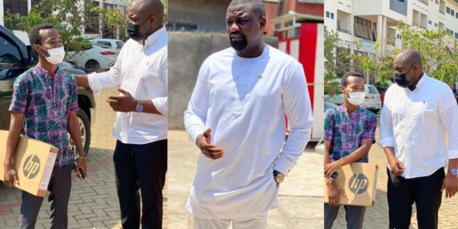 'I Still Dey For U' - Says John Dumelo As He Donates Brand New Laptop To Fan - Photo 1