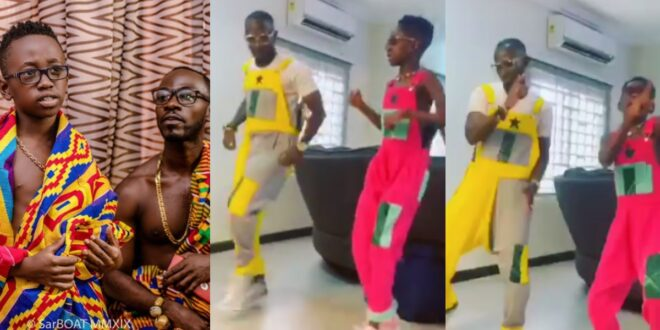 Watch as Okyeame Kwame's Son teaches him how to dance in a new video 1