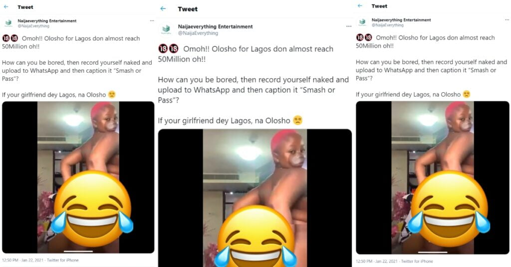 Lady shares completely n@k3t video on her WhatsApp status
