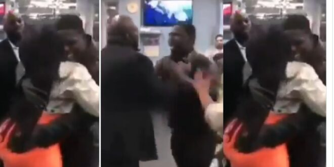 Jealous husband beats his friend for over hugging his beautiful wife - Video 1
