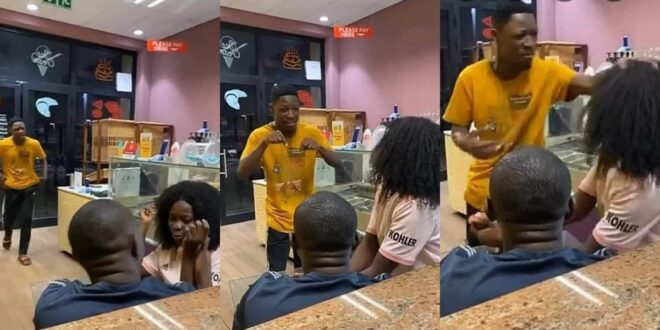 Jealous boyfriend takes back the wig he bought for his girlfriend after he found her cheating. 1