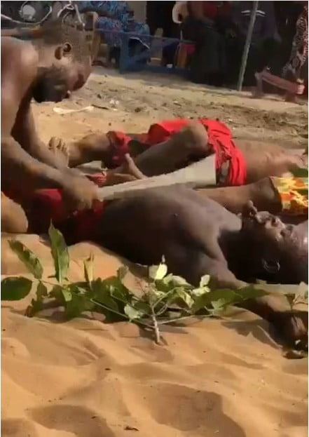 Video of men cutting themselves with cutlass without bleeding surfaces