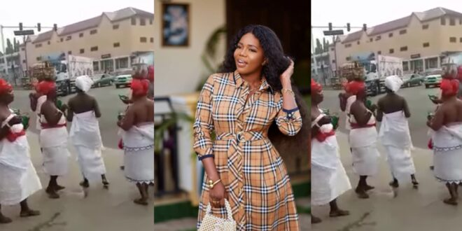 Mzbel finally react after Ga Traditional Women stormed the street to curse her - Video 1