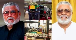 Watch how the mortal remains of Jerry John Rawlings arrive at the Black Star Square - Video 13