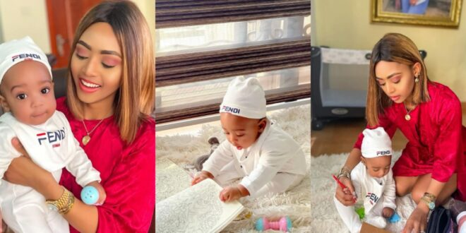 Regina Daniels teaches her 6-month-old baby how to write in new photos 1