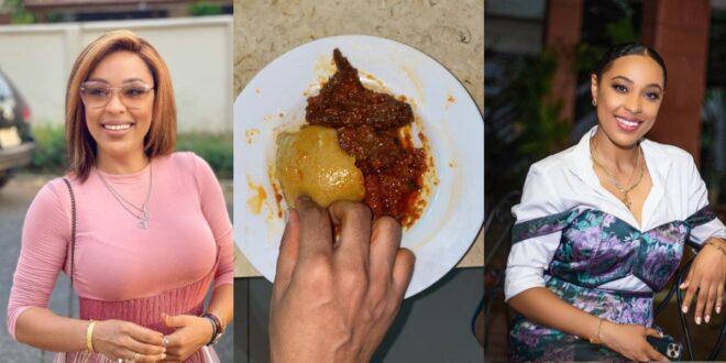 Actress Nikki Samonas Eats Fufu With Chicken Stew in a new photo 1