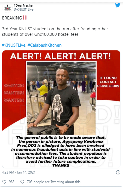 KNUST student wanted by police after running away with GHS100,000 hostel fees 2