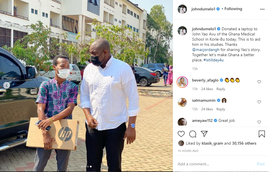 'I Still Dey For U' - Says John Dumelo As He Donates Brand New Laptop To Fan - Photo