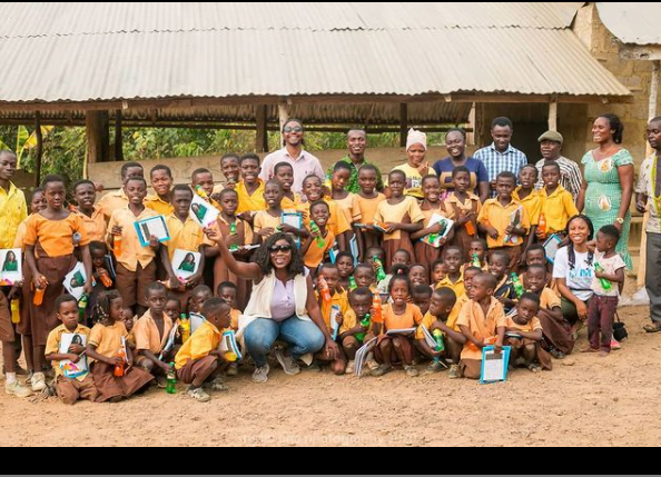 Afia Pokua donates learning materials to children in Village as school re-opens - Photos