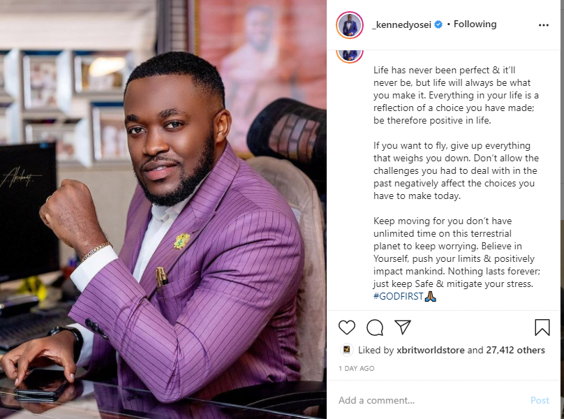 Kennedy Osei tells the 'bitter truth' about life as he stuns in a latest photo