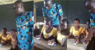 Sad Video of a Teacher using stones as a mouse to teach ICT in class surfaces 50