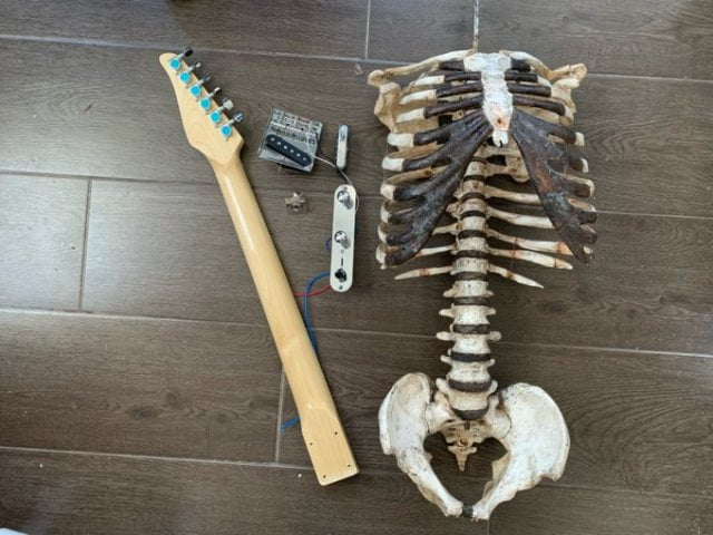Man makes a guitar out of his dead uncle's skeleton - Photos 3