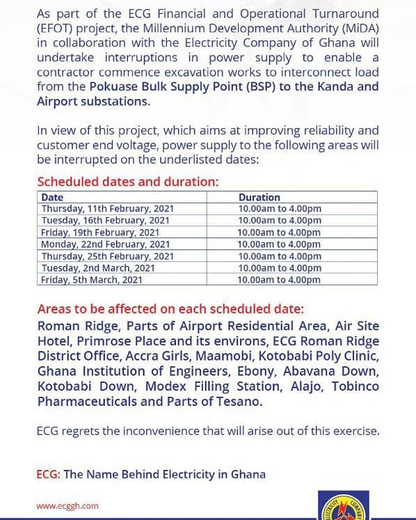 ECG Releases Dumsor Time Table Starting From Feb 11 - Check Out 2